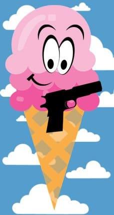 pink icecream cone with gun art