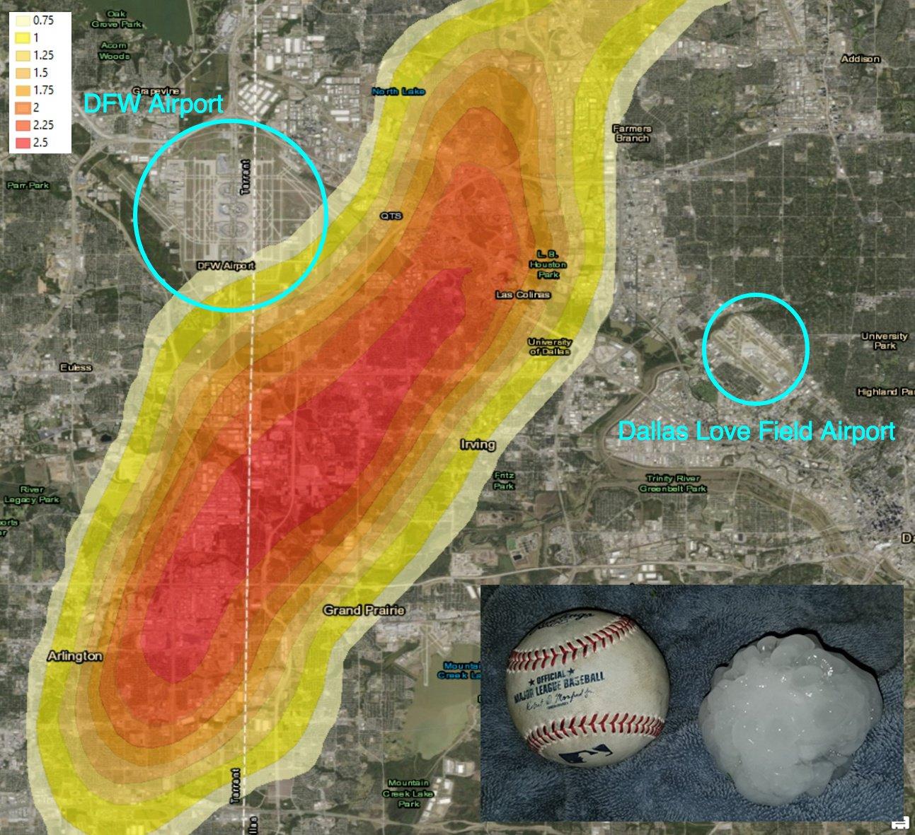 dallas hail map baseball size comparison