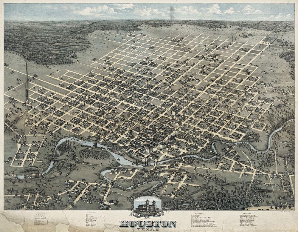 houston illustrated map 1873