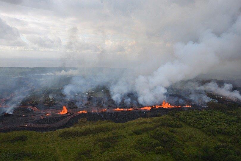 lava fountains kilauea aerial far