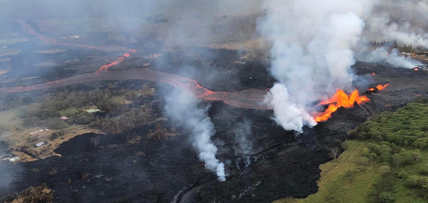lava fountains kilauea aerial near