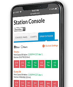 dtn ag weather station console on mobile device