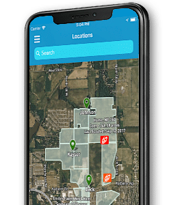 dtn agronomic platform on mobile phone screen