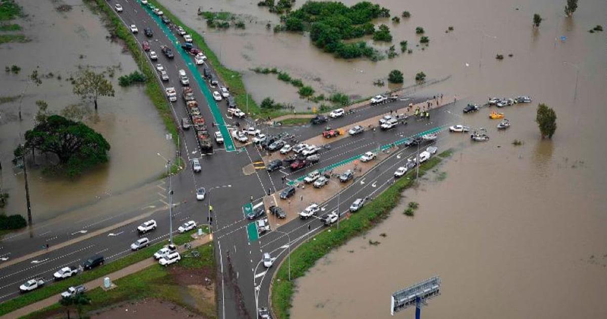Overhead photo of flooding in Idalia, QLD