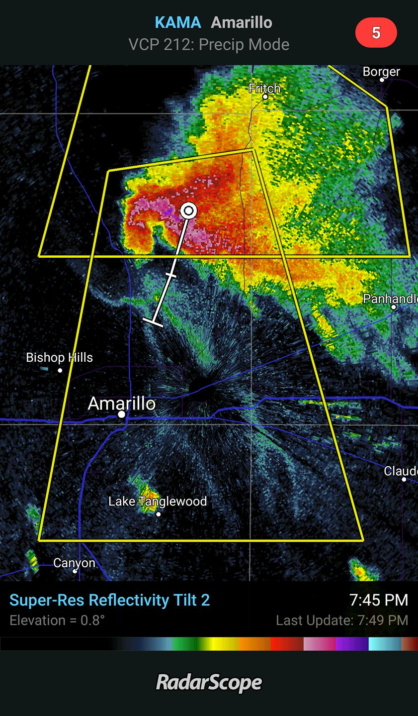 RadarScope image of a classic supercell