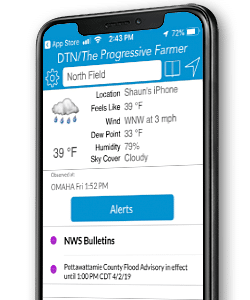 dtn ag weather tools screenshot on mobile phone