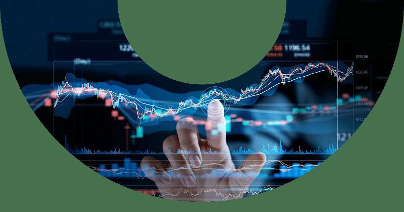 finger touching digital stock charts