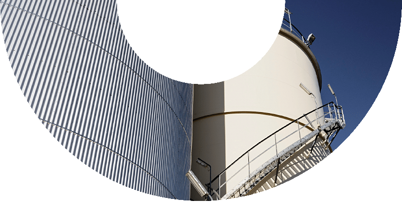 white and corrugated storage tanks