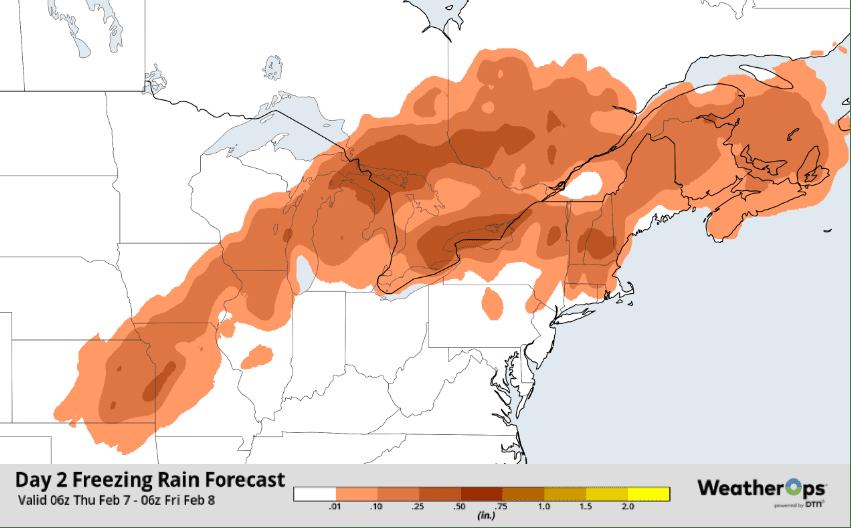 freezing rain forecast map