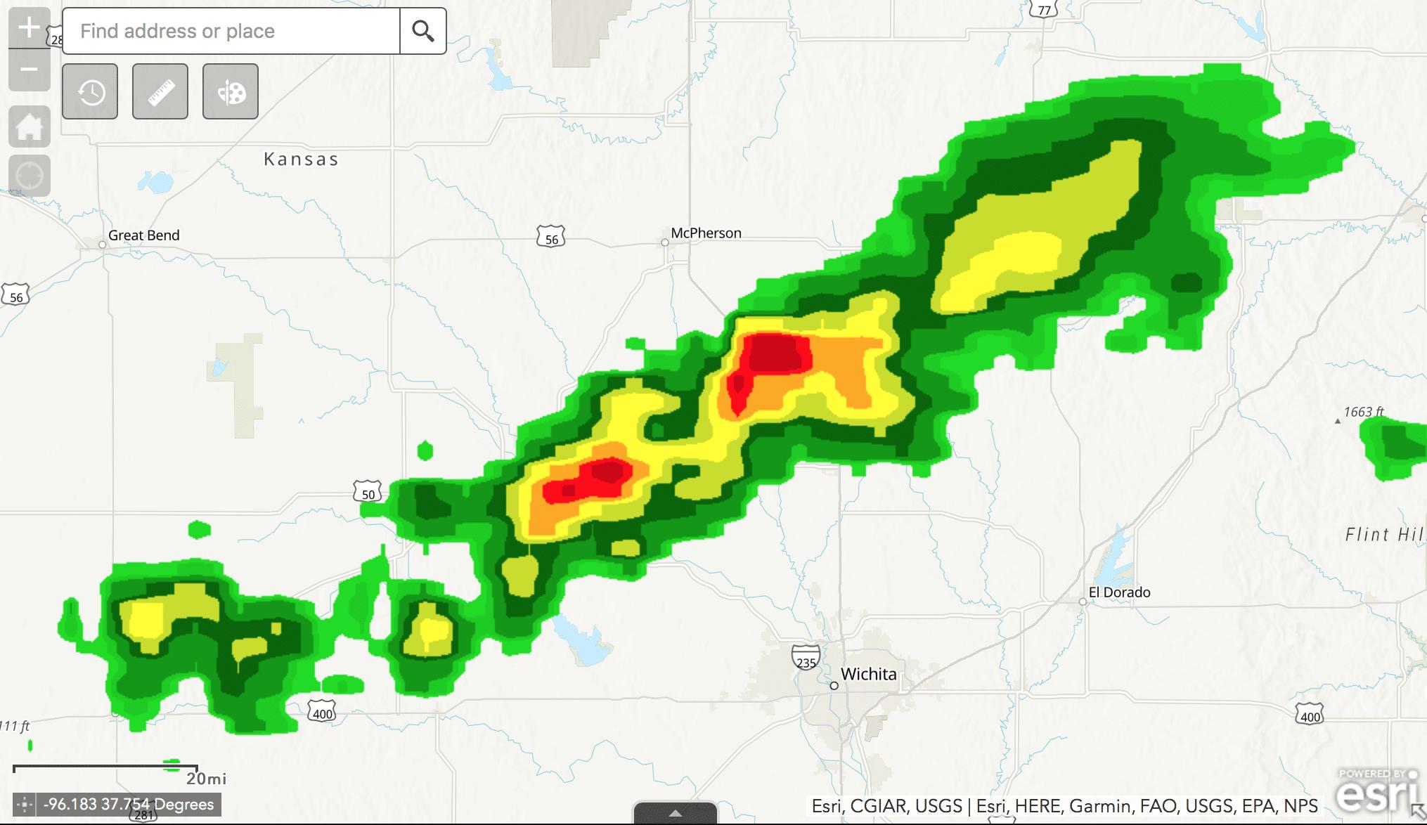 storm moving towards wichita future weather map