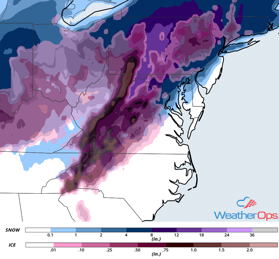 snow and ice accumulation forecast map