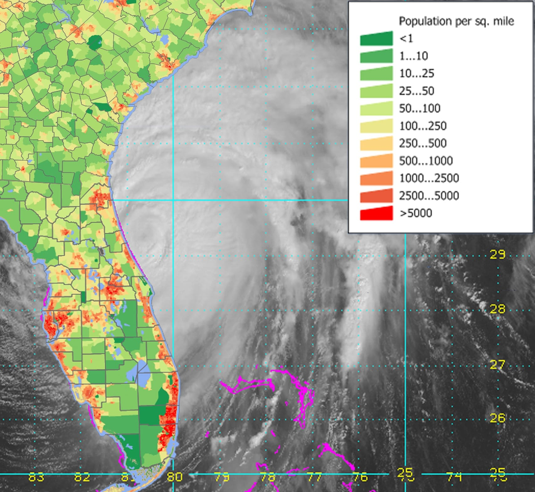 hurricane population per square mile map
