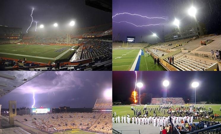 4 large stadium lightning strikes
