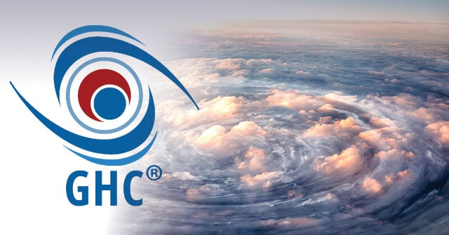 GHC logo over hurricane