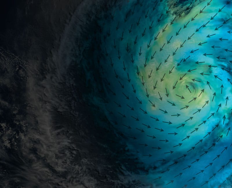 hurricane satellite view with wind arrows