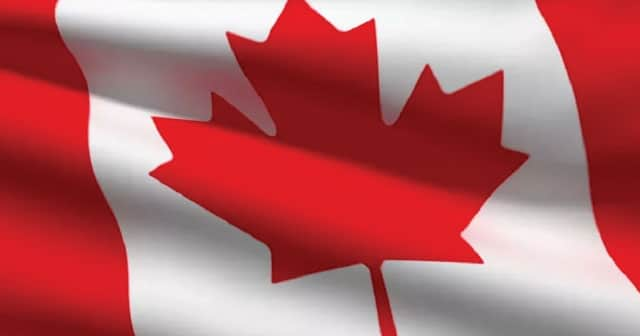 canadian flag rippling in wind
