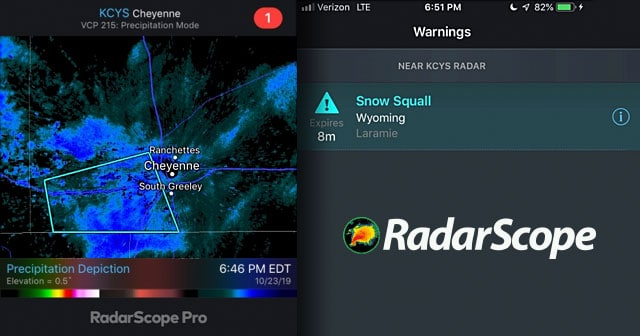 radarscope snow squall screenshots