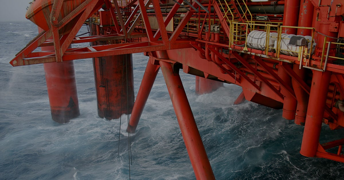 oil platform red support beams offshore forecasts