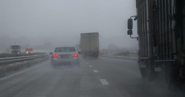 foggy snowy highway road