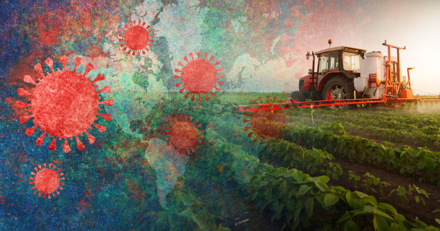 news insight farm tractor spraying world corona map