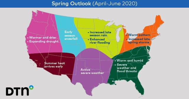 DTN 2020 Spring Outlook USA Map