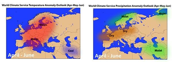 Temperature & Precipitation Anomaly Outlook April through June
