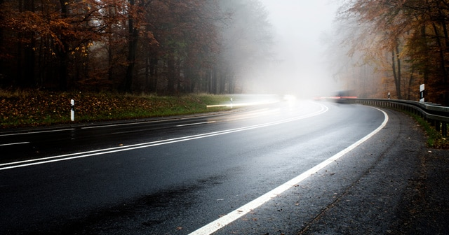 Wet and Foggy Road