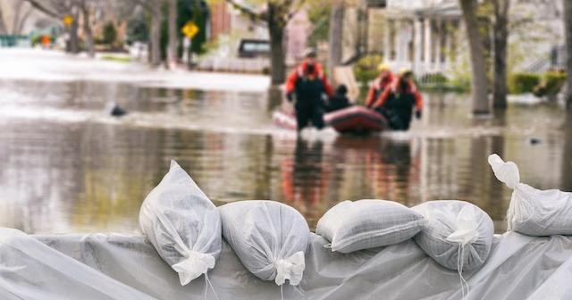 Sandbags on a flooded street