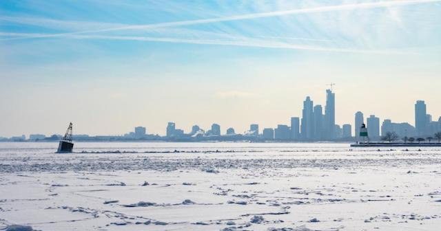 Frozen Lake Michigan in Chicago
