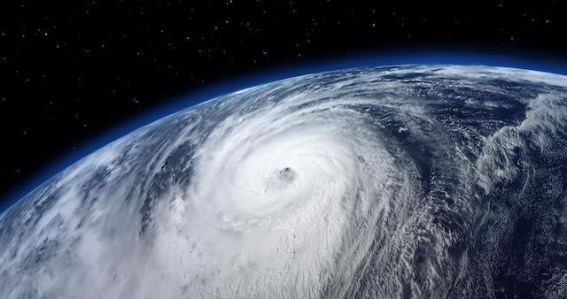 Satellite view of typhoon
