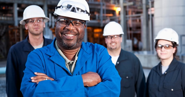 Refinery Workers Smiling