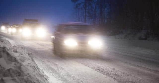 traffic on snowy road