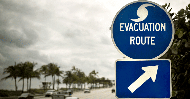 Evacuation Sign off Florida highway