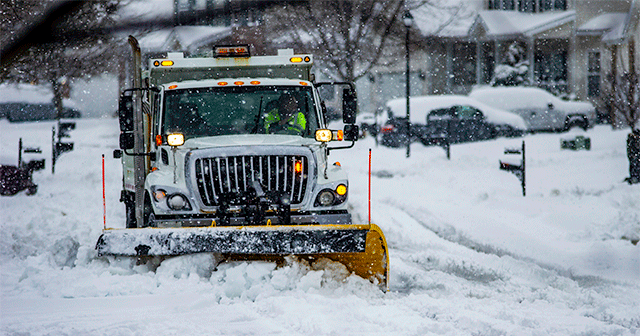Snowplow in the winter