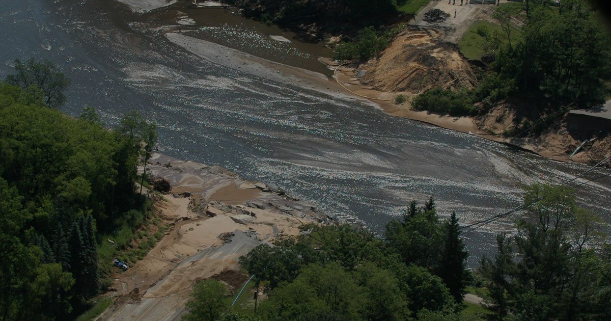 aerial view of washed out road