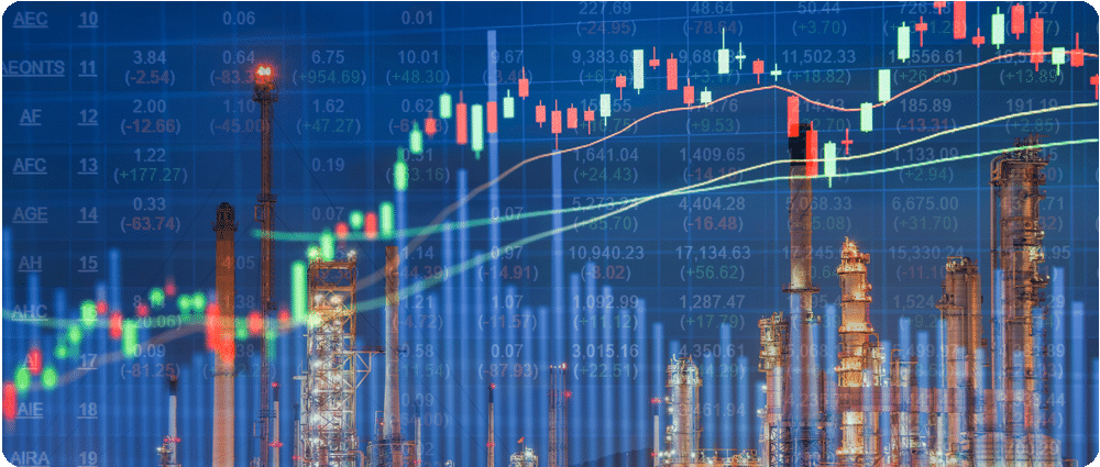 Stock market graph over Refinery image