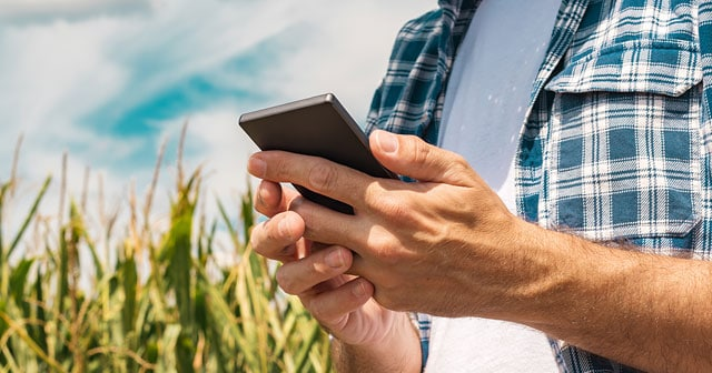 farmer hands holding mobile device in field plaid shirt