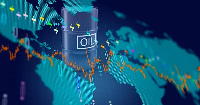 oil drum over blue digital world map candle stick stock chart