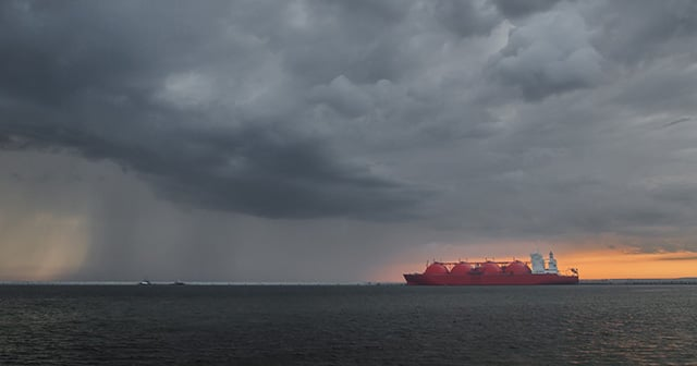 LNG Tanker with Storm Cluods