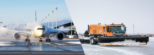 de-icing airplane and snow plow on runway side-by-side