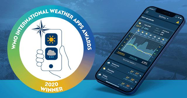 WMO International Weather Awards logo and app screenshot on smart phone