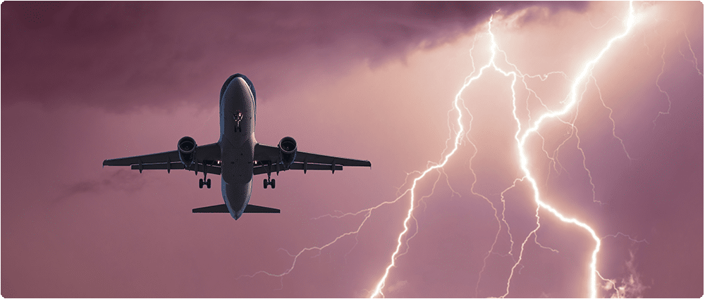 Airplane flying by lightning