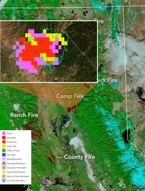 NASA Terra Satellite California Camp Wildfire November 25, 2018 Legend
