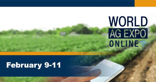 hand on mobile device in field world ag expo promo header