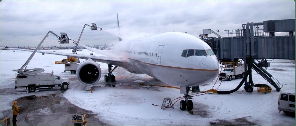 Airplane getting deiced