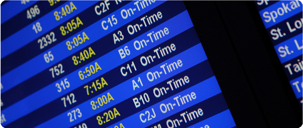 Screen showing on-time flights