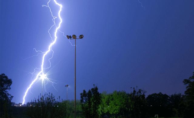 Lightning strike in park