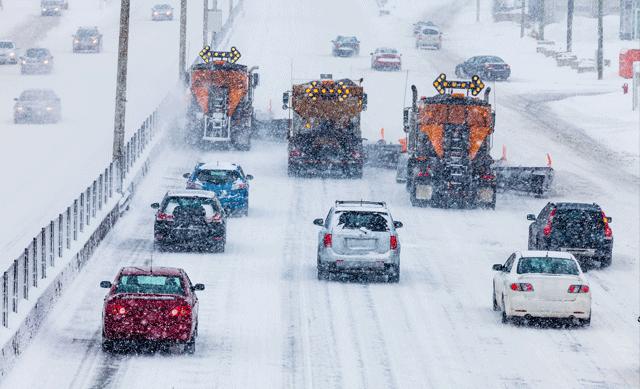 Traffic on snowy