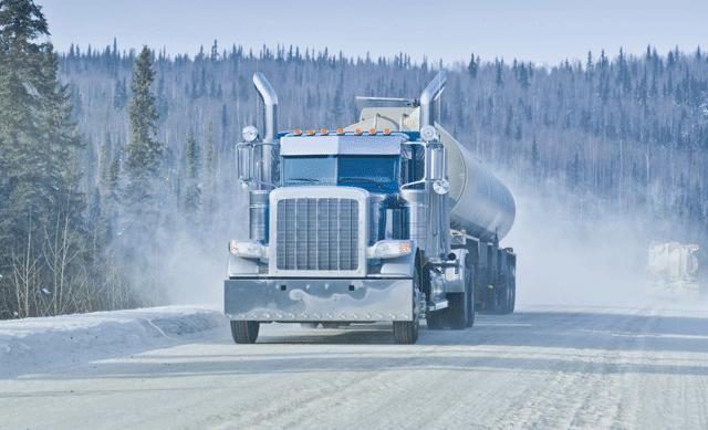 Truck on snowy road