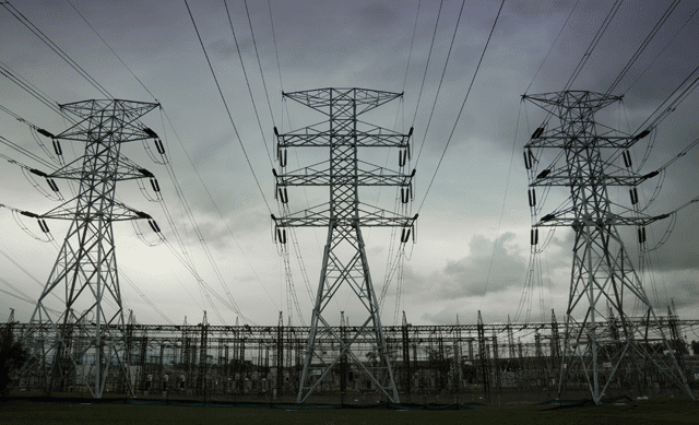 Power Towers in overcast